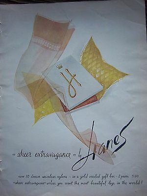 1961 Vintage HANES Sheer Extravagance Hosiery Stockings Gold Crest Box Ad
