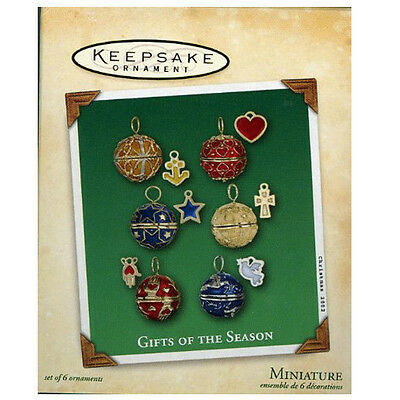 Hallmark 2002 Gifts Of The Season - Set of 6 Miniature Ornaments - #QXM4576