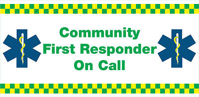 Community First Responder On Call Vechicle Window Sticker X 1.