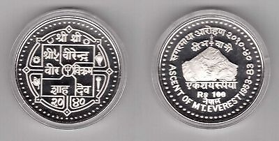 Nepal – Rare Silver Proof 100 Rupees Coin 1983 Year Km#1005 Everest Mountain