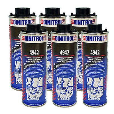 6 x DINITROL 4942 UNDERBODY CHASSIS RUST PROOFING BROWN WAX 1 LITRE CAN