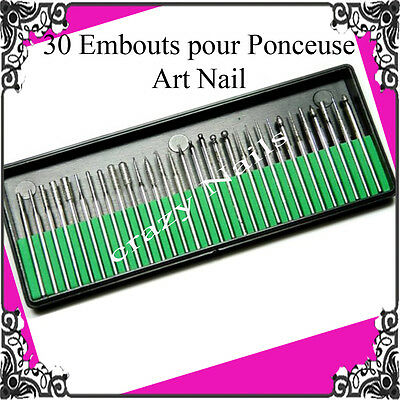 LIV 48H,Set 30 Embouts pour PONCEUSE A ONGLES EMERI Limes Nail Art Manucure