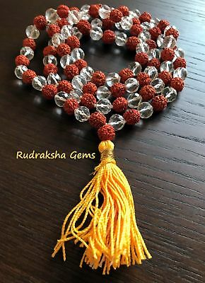 Rudraksha & Snow Quartz 108 + 1 Crystal Necklace Bead Japa Mala Medtation Rosary