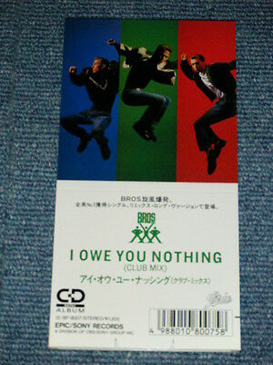 """BROS. Japan Only 1988 NM Tall 3""""inch CD Single I OWE YOU NOTHING(CLUB MIX)"""