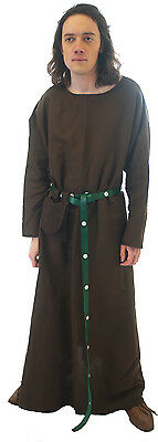 LARP-Cosplay Medieval-Re enactment- Quality Male Long Brown Tunic sml-XXXXL