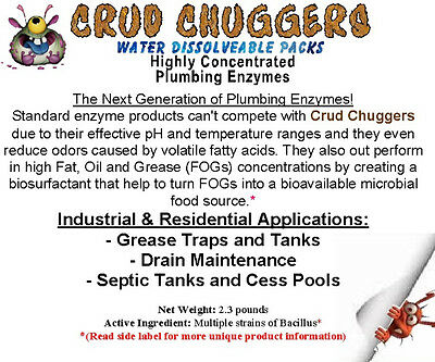 CRUD CHUGGERS (2.3lb jar) PLUMPING & SEPTIC TANK ENZYME WITH 1.75 Trillion CFUs