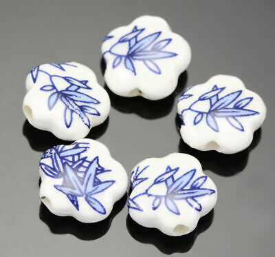 20x 15mm Flower Floral Porcelain Ceramic Beads for Jewellery Making Craft