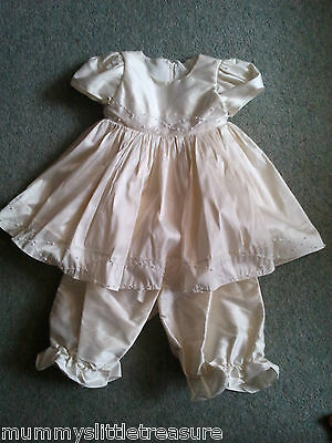 Bnwot Ivory Raw Silk Christening Dress Gown And Bloomers 12-24 Months