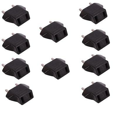 Lot 10 x US to EU Travel AC Power Socket Plug Adapter Adaptor Converter 2 Pin