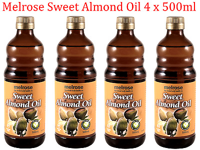 MELROSE 2L ( 4 x 500ml ) 100% Pure SWEET ALMOND OIL Cold Pressed Carrier Oil
