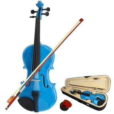 New 4/4 Size Sky Blue Color Acoustic Violin with Case + Bow + Rosin for Beginner