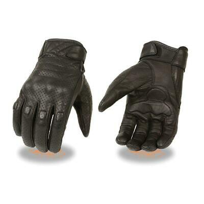 Men's Perforated Short Wrist Leather Motorcycle Glove w/ Knuckle Protection