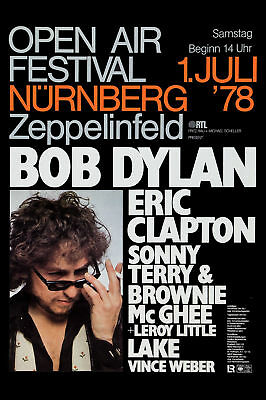 Folk-Blues: Bob Dylan & Eric Clapton in Germany Concert Poster Circa 1978