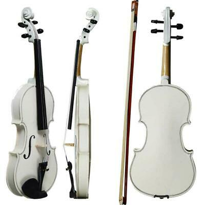Acoustic Practice Violin 4/4 Full Size White Color with Case Bow Rosin