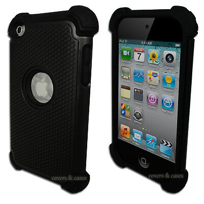 Black Tough Impact Cover Case for Apple iPod Touch 4 4th Gen Protective