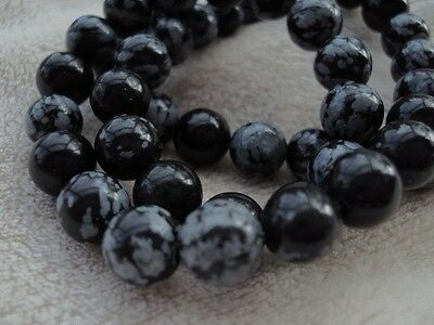 Snowflake Obsidian Round Beads 8mm 15 Inch Strand