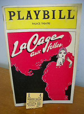 1983 LA CAGE AUX FOLLES Playbill with Ticket Stub, Palace Theatre NYC