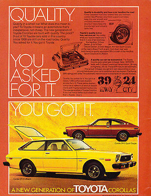 1976 1977 Toyota Corolla - Quality - Classic Vintage Advertisement Ad D28