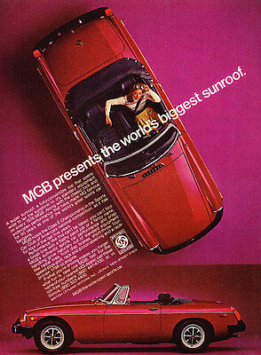 1976 1977 MGB Convertible - Sunroof - Classic Vintage Advertisement Ad D28