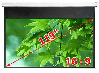 """New Antra 119"""" 16:9 Electric Projector Projection Screen w RF Remote Matt White"""