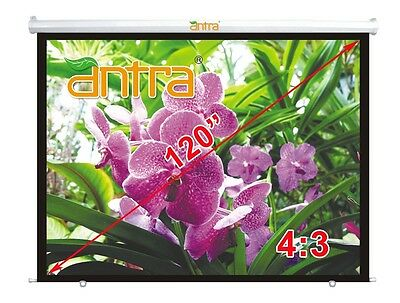 """Antra® 120"""" 4:3 Electric Motorized Projector Projection Screen Remote Matt White"""