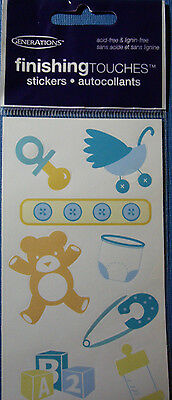 NEW 8 pc BABY 3 Teddy Diaper Pin Blue GENERATIONS FINISHING TOUCHES Stickers