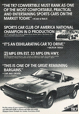 1980 Triumph TR7 - Convertible - Classic Vintage Advertisement Ad D29