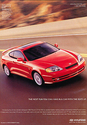 2002 Hyundai Tiburon Coupe - red - Classic Vintage Advertisement Ad H03