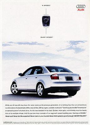 2002 Audi A4 - 220hp - Classic Vintage Advertisement Ad H03