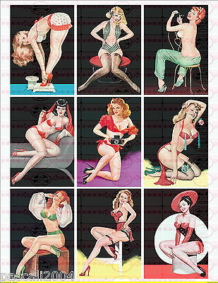 9 x  Pin Up Retro Girls Vintage Nostalgie Bügelbilder Pin Up`s auf A4 Transfer 3