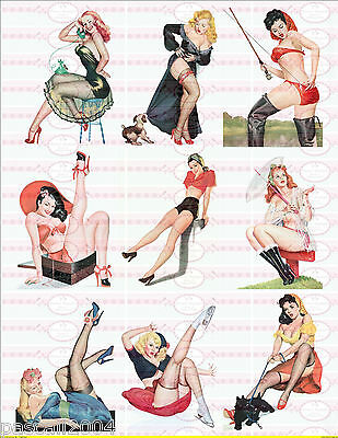 9 x  Pin Up Retro Girls Vintage Nostalgie Bügelbilder Pin Up`s auf A4 Transfer 4