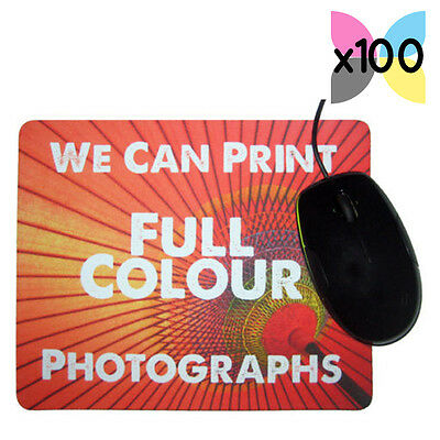 100 x PERSONALISED PROMOTIONAL PHOTO MOUSE MATS YOUR LOGO PRINTED