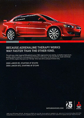 2007 Mitsubishi Lancer - Therapy - Classic Vintage Advertisement Ad D36