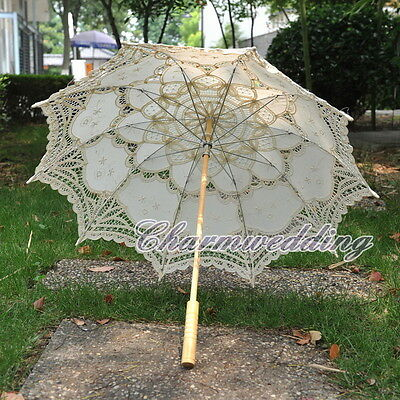 NEW Beige Cotton Vintage Lace Bridal Parasol Wedding Party Sun Umbrella Handmade