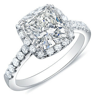 1.52 Ct. Cushion Cut w/ Halo Pave Round Diamond 14K Engagement Ring F,VS1 GIA