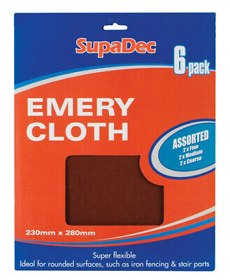 New SupaDec Assorted Emery Cloth - Pack of 6