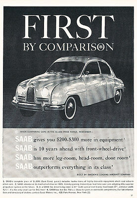 1960 SAAB 93 - sweden - Classic Vintage Advertisement Ad H04