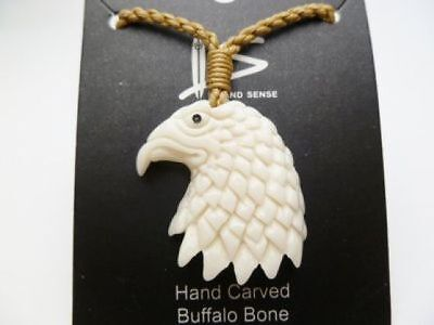Hawaiian Hawaii Jewelry Eagle Head Bone Carved Pendant Necklace/Choker # 35527