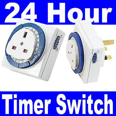3 Pin UK 24HR 24 Hour Timer Programmable Mains Wall Home Socket Plug-IN Switch