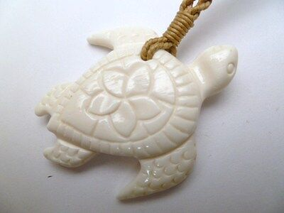 Hawaii Jewelry Turtle Buffalo Bone Carved Pendant Necklace/Choker # 35226