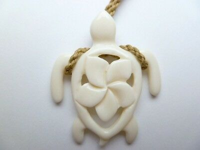 Hawaii Jewelry Turtle White Buffalo Bone Carved Pendant Necklace/Choker # 35355