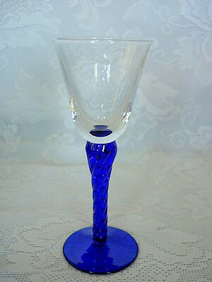 Beautiful Collectible Cobalt Blue/Crystal Blown Glass Cordial Goblet