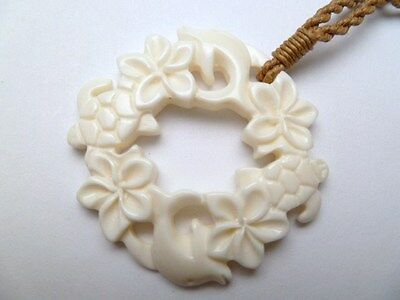 Hawaii Jewelry Flower Circle Buffalo Bone Carved Pendant Necklace/Choker # 35385