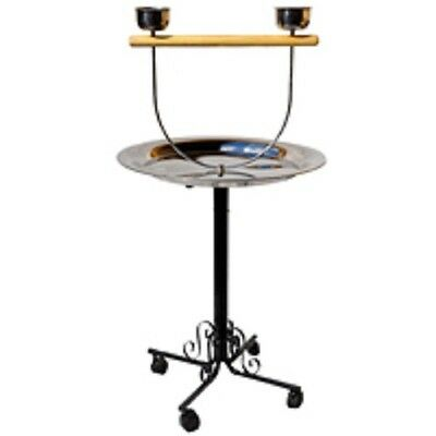 """Parrot Perch Pet Bird Perch Play Stand Gym Stainless Steel 22"""" Tray"""
