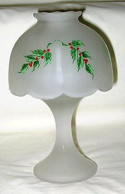 Mosser Glass USA Holly & Berry Design Frosted Glass 2-Piece Candle Lamp