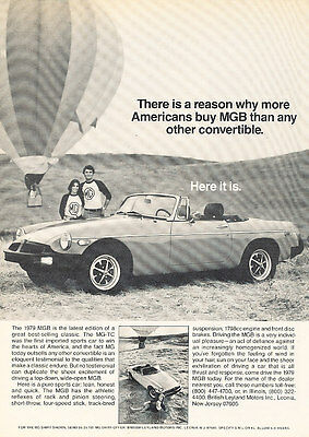 1979 MG MGB - Balloon - Classic Vintage Advertisement Ad D43