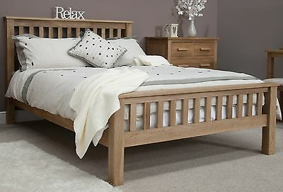 Nero solid oak bedroom furniture 5' king size bed with felt pads