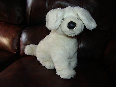 """Russ Berrie and Company White and Grey Puppy Dog Plush Doll 12"""""""