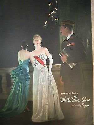 1947 Vintage White Shoulders Perfume by Evyan Pretty Woman Evening Gown Ad