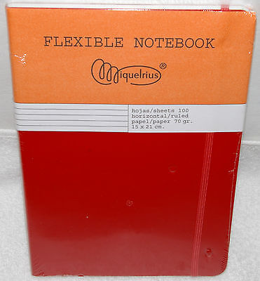 """Miquelrius Ruled 100 sheet Flexible Notebook 70 gr Red Med 6"""" X 8.25"""""""